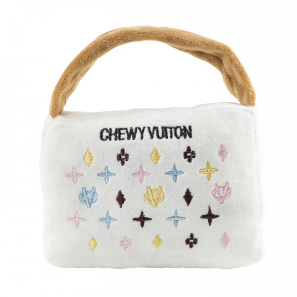 White Chewy Vuiton Purse Toy small