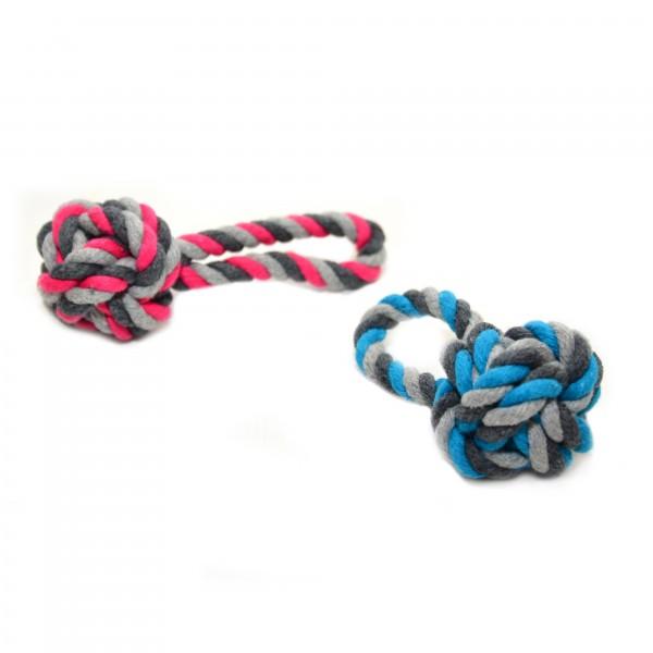 Knot baumwolle dummy ball Blau/ Rosa 9cm