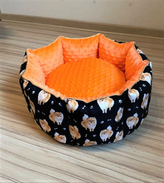 """Hundebett """" Pomeranian """" orange - 55 cm"""