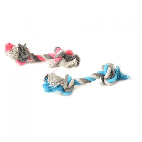 Knot baumwolle mit 2 knots Blau/ Rosa 12cm