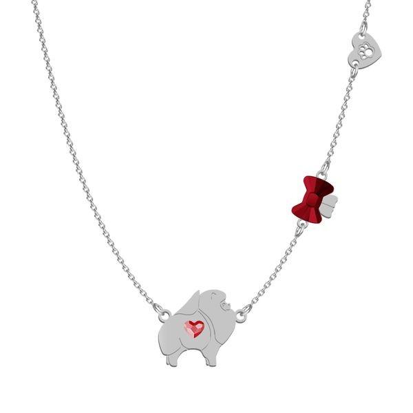 Halskette plus Armband aus Silber Pomeranian mit Swarovski Kristall -rot