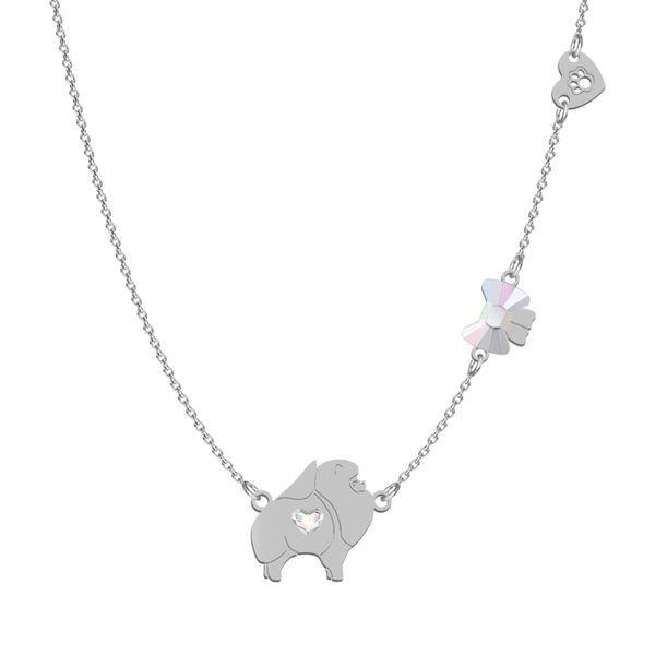Halskette Silber Pomeranian mit Swarovski Kristall