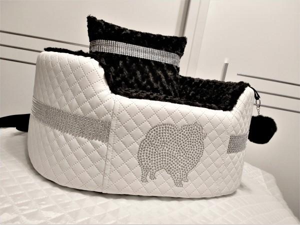 Luxury Autositz mit Pomeranian-Stickerei ( auf Bestellung )