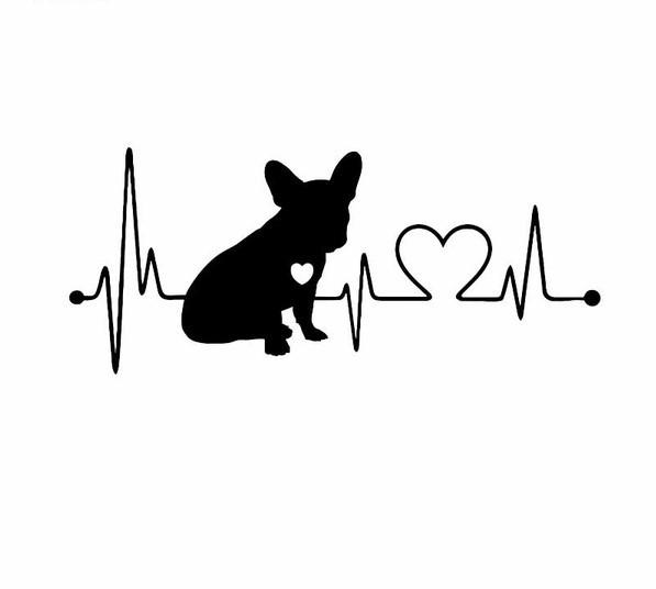 Französische Bulldogge Aufkleber Heartbeat