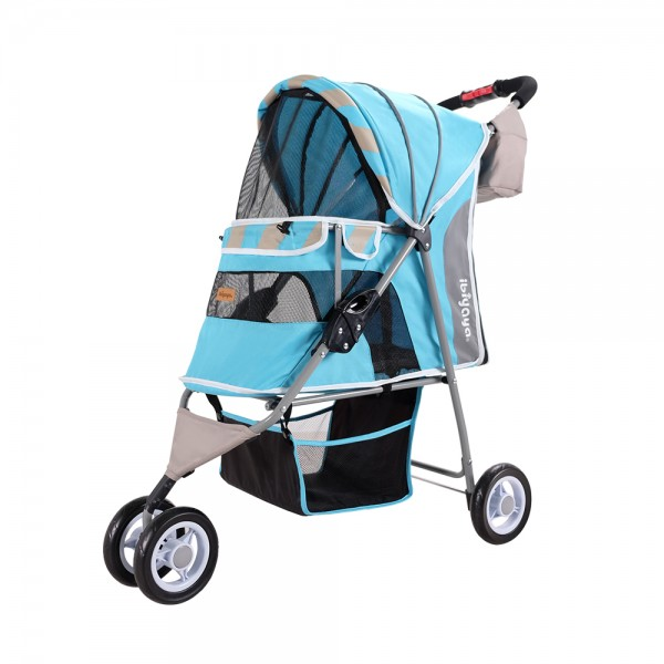 "Ibiyaya® Hundebuggy Pet Stroller Hundewagen ""Stripes - Ocean Blue"""