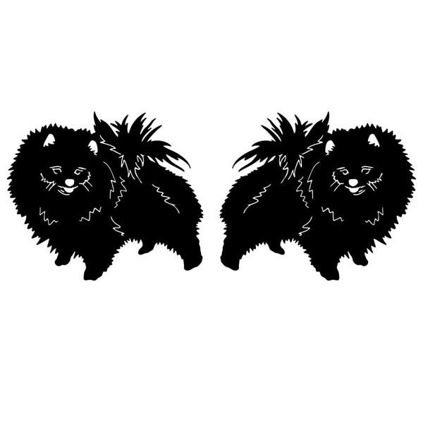 Aufkleber mit 2 Pomeranian