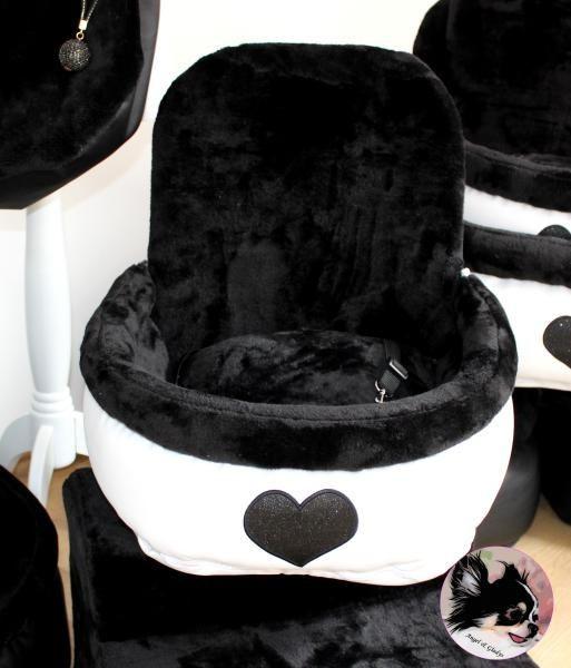 """Angel & Gladys Autositz """" Love """" black für 1 Hund"""
