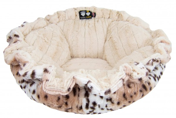 Bessie and Barnie Cuddle Pod -Snow Leopard/ Natural